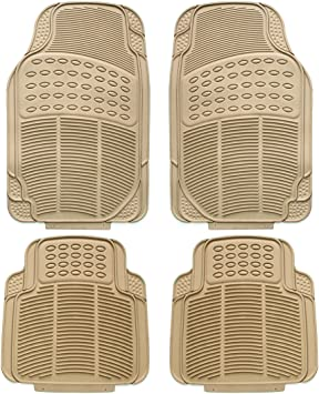 Universal 4pcs Heavy Duty TAN Beige Rubber Car Floor Mats carpet NON SLIP INNER