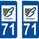 2 Stickers Autocollant style Plaque Immatriculation département 71