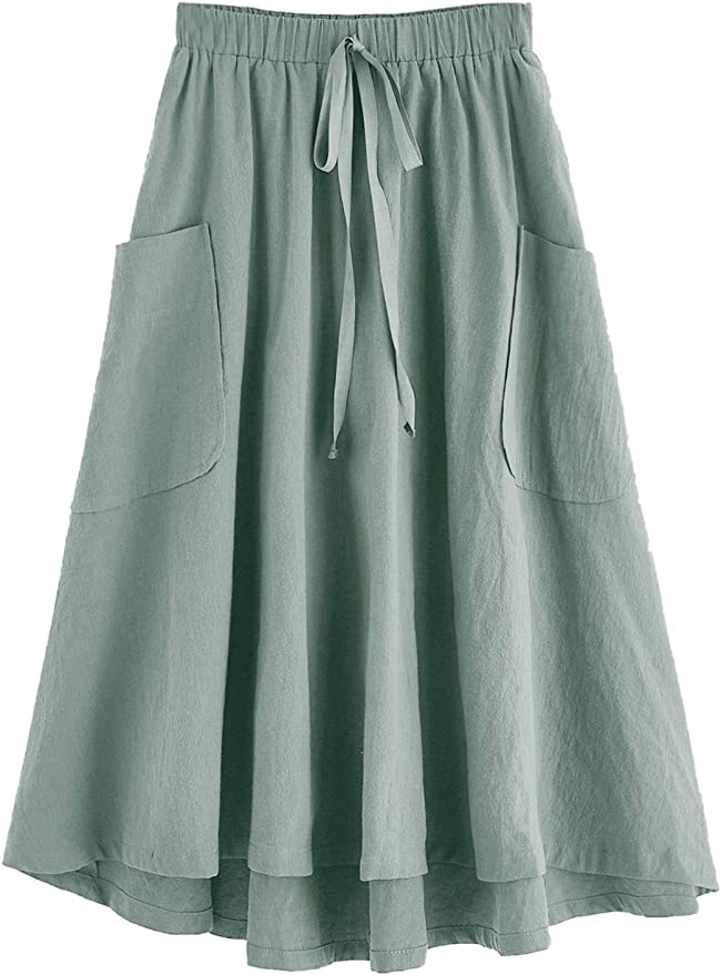 Cottagecore Clothing, Soft Aesthetic SweatyRocks Womens Casual High Waist Pleated A-Line Midi Skirt with Pocket $26.89 AT vintagedancer.com