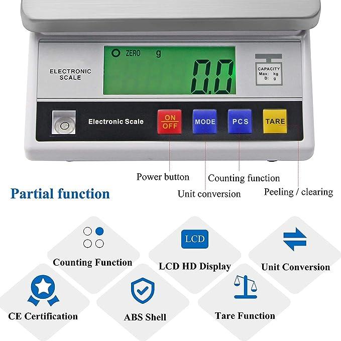 Bonvoisin Analytical Electronic Balance Lab Scale 0.1g Accuracy Laboratory Balance Large Weighing Range Digital Kitchen Balance Scale Jewelry Gold Scale Precision Balance 10kgx0.1g