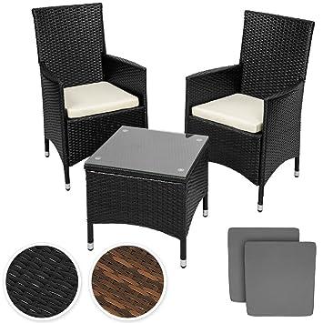 tectake conjunto muebles de jardn en aluminio y poly ratan sintetico negro plazas