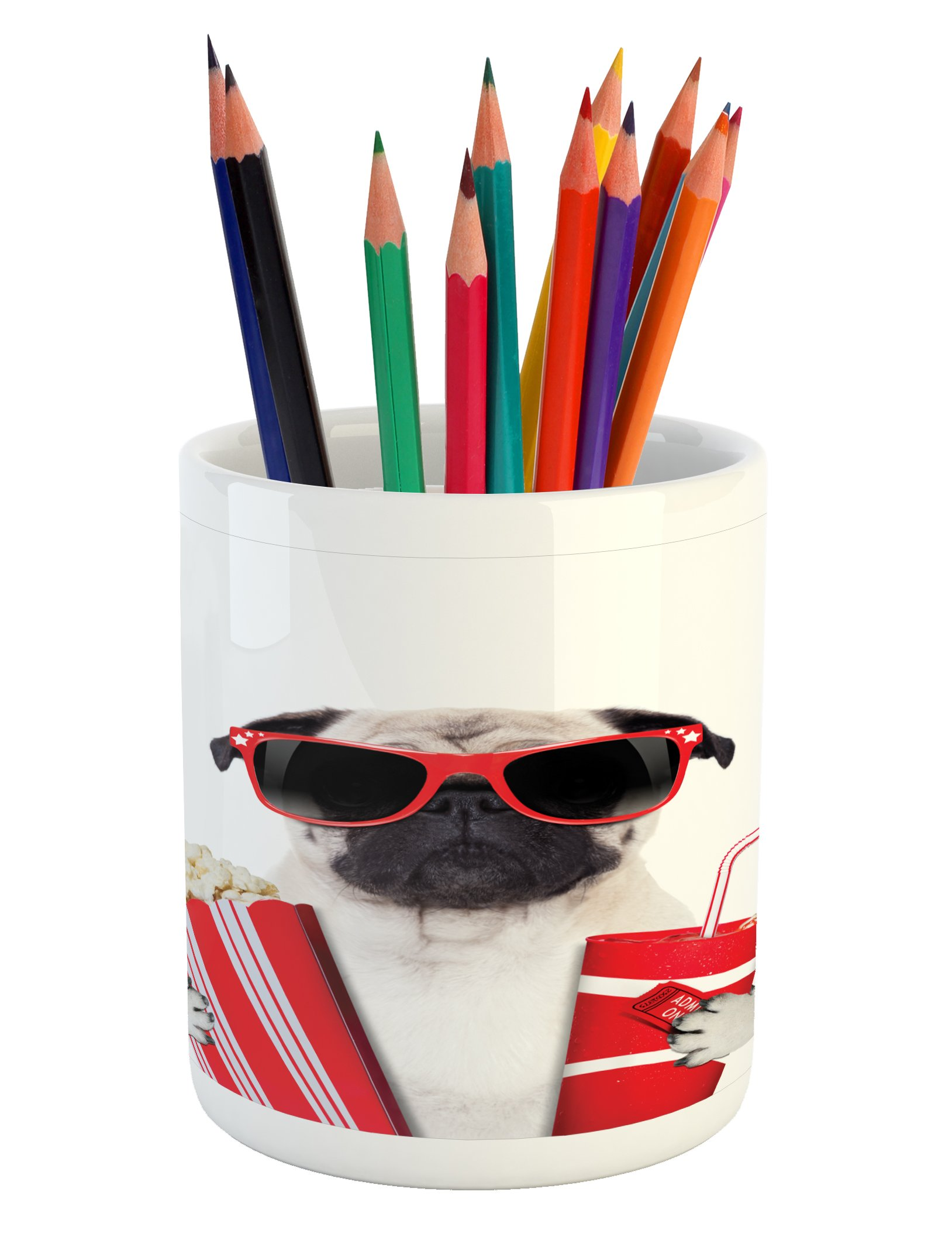 Ambesonne Pug Pencil Pen Holder, Going to the Movies Pug Dog Popcorn Soft Drink Movie Star Glasses Animal Fun Image, Printed Ceramic Pencil Pen Holder for Desk Office Accessory, Cream Red Black