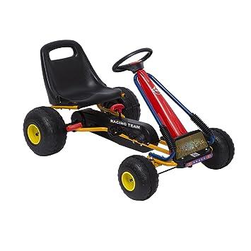 Homcom Kids Ride Pedal Go-kart Gokart Go Kart Pedal Outdoor Toy Racing Fun  Kart Adjustable Seats with Hand Brake Red 96*68*56cm