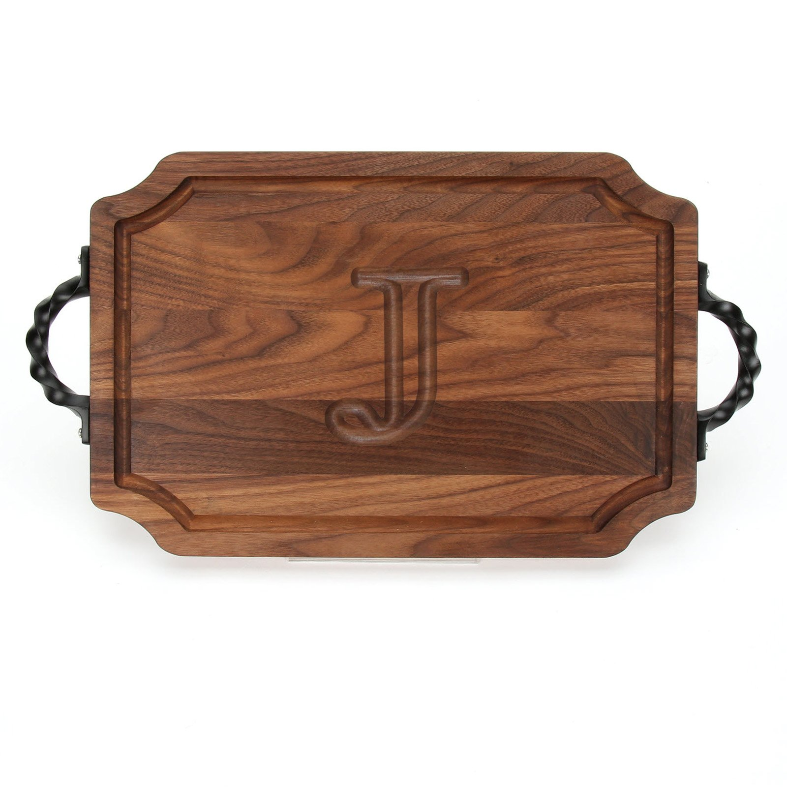 BigWood Boards W310-STWS-J Cutting Board with Twisted Square End Handle with Scalloped Corners, 12-Inch by 18-Inch by 1-Inch, Monogrammed ''J'', Walnut by BigWood Boards
