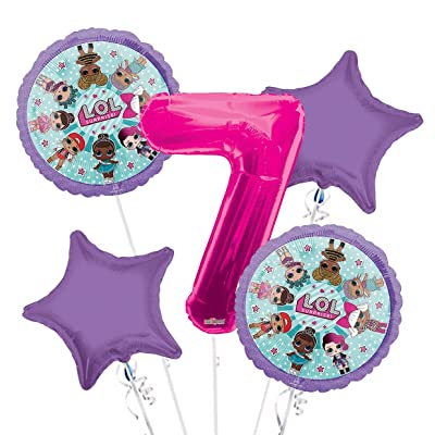LOL Suprise Balloon Bouquet 7th Birthday 5 pcs - Party Supplies: Health & Personal Care
