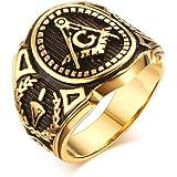 MG Masonic Jewelry Anillo de acero inoxidable, chapados en oro, clásico, símbolo masónico, para los hombres