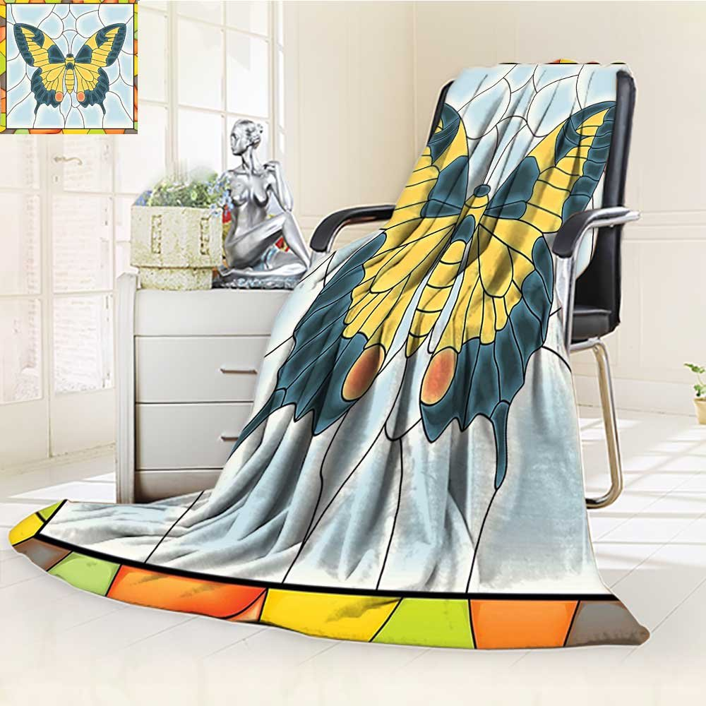 YOYI-HOME Luxury Double-Sides Reversible Fleece Duplex Printed Blanket Butterfly in Stained Glass Window with Frame Wing Spring Garden Illustration Travelling and Camping Blanket /W86.5 x H59