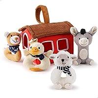iPlay, iLearn Plush Baby Rattle Toys, Newborn Soft Farm Stuffed Animal Rattles Set, Infant Hand Grip Shaker Sensory…