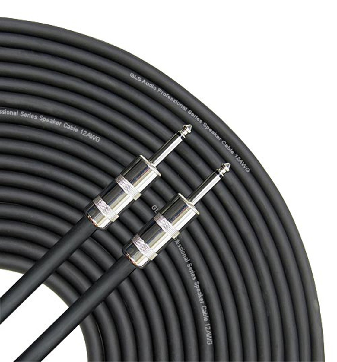 GLS Audio 100 feet Speaker Cable 12AWG Patch Cords - 100 ft 1/4'' to 1/4'' Professional Speaker Cables Black 12 Gauge Wire - Pro 100' Phono 6.3mm Cord 12G - Single by GLS Audio