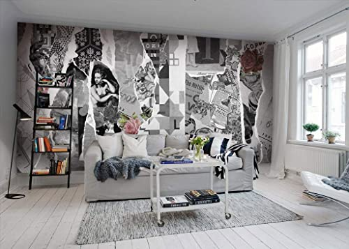 Amazon Com Murwall Art Wallpaper Black And White Old Newspaper Wall Mural Monochrome Nostalgic Art Wall Print American Home Decor Cafe Design Handmade