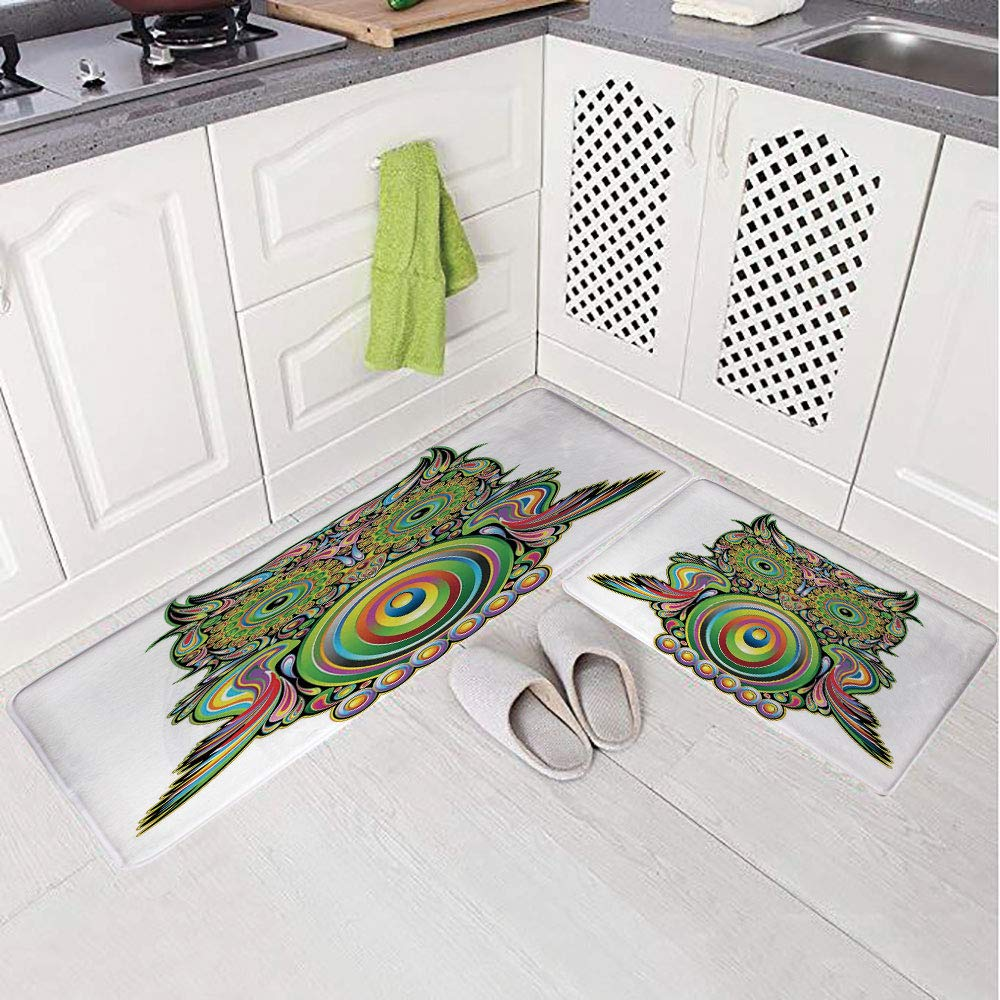 2 Piece Non-Slip Kitchen Mat Rug Set Doormat 3D Print,Owl with Ethnic Elements Legend Eye Feather,Bedroom Living Room Coffee Table Household Skin Care Carpet Window Mat,