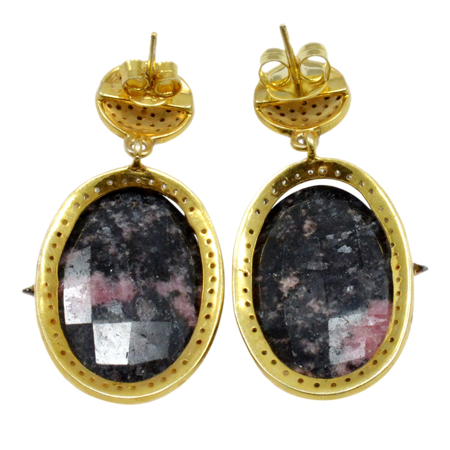 925 Sterling Silver Gold Vermeil Post Wire Long Dangle Earring Jaipur Rajasthan India Handmade Jewelry Manufacturer Rhodonite /& Cubic Zirconia