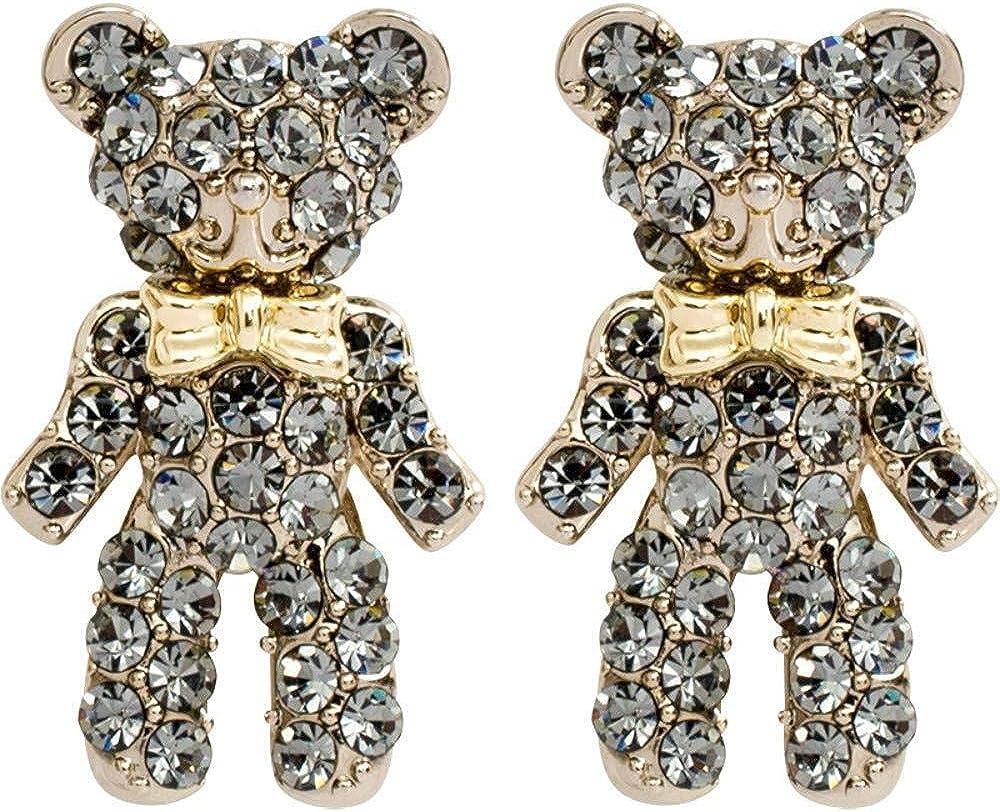 Pendientes Pendientes de plata 925 con aretes de diamantes y oso para bebé, accesorios para damas 1 * 1.7cm