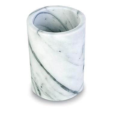 Fox Run Marble Utensil and Wine Bottle Holder, Flower Vase, 4.75 x 4.75 x 7 inches, White