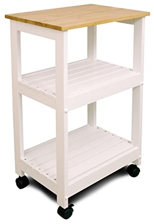 Catskill Craftsmen Utility Kitchen Cart Microwave Stand, White Base with Natural Top