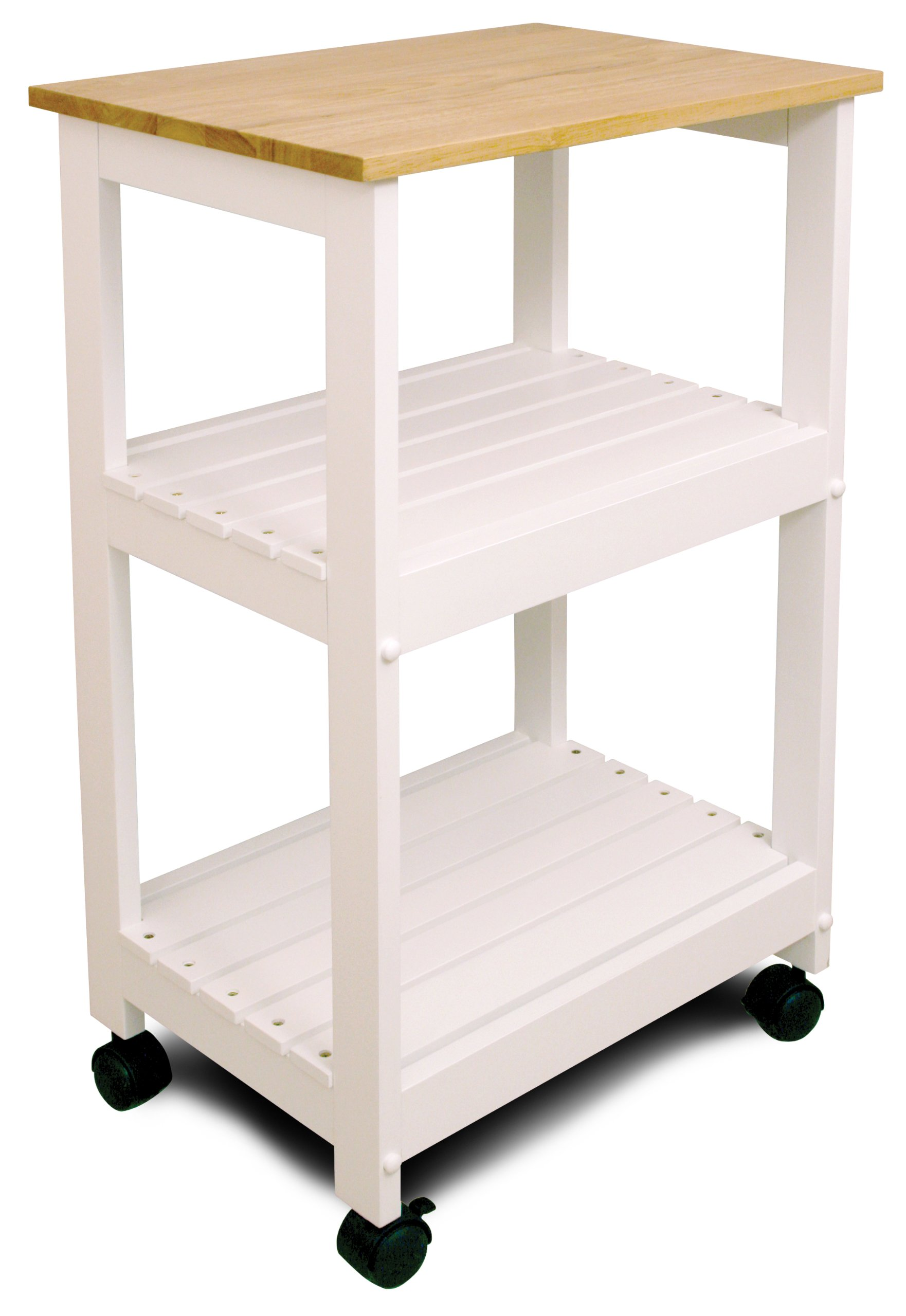 Catskill Craftsmen Utility Kitchen Cart/Microwave Stand, White Base with Natural Top by Catskill Craftsmen (Image #1)