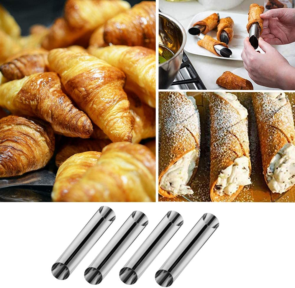 Cannoli Tubes Molds,Stainless Steel Non-stick Cream Horn Danish Pastry Molds for Croissant Shell Cream Roll Balking,Diagonal Shaped,Pack of 16