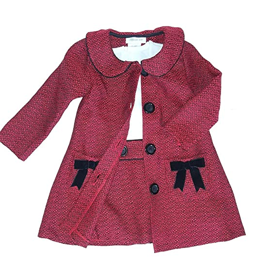 Kids 1950s Clothing & Costumes: Girls, Boys, Toddlers Bonnie Baby Baby Girls Newborn-24 Months Boucle Coat and Dress Set $29.99 AT vintagedancer.com