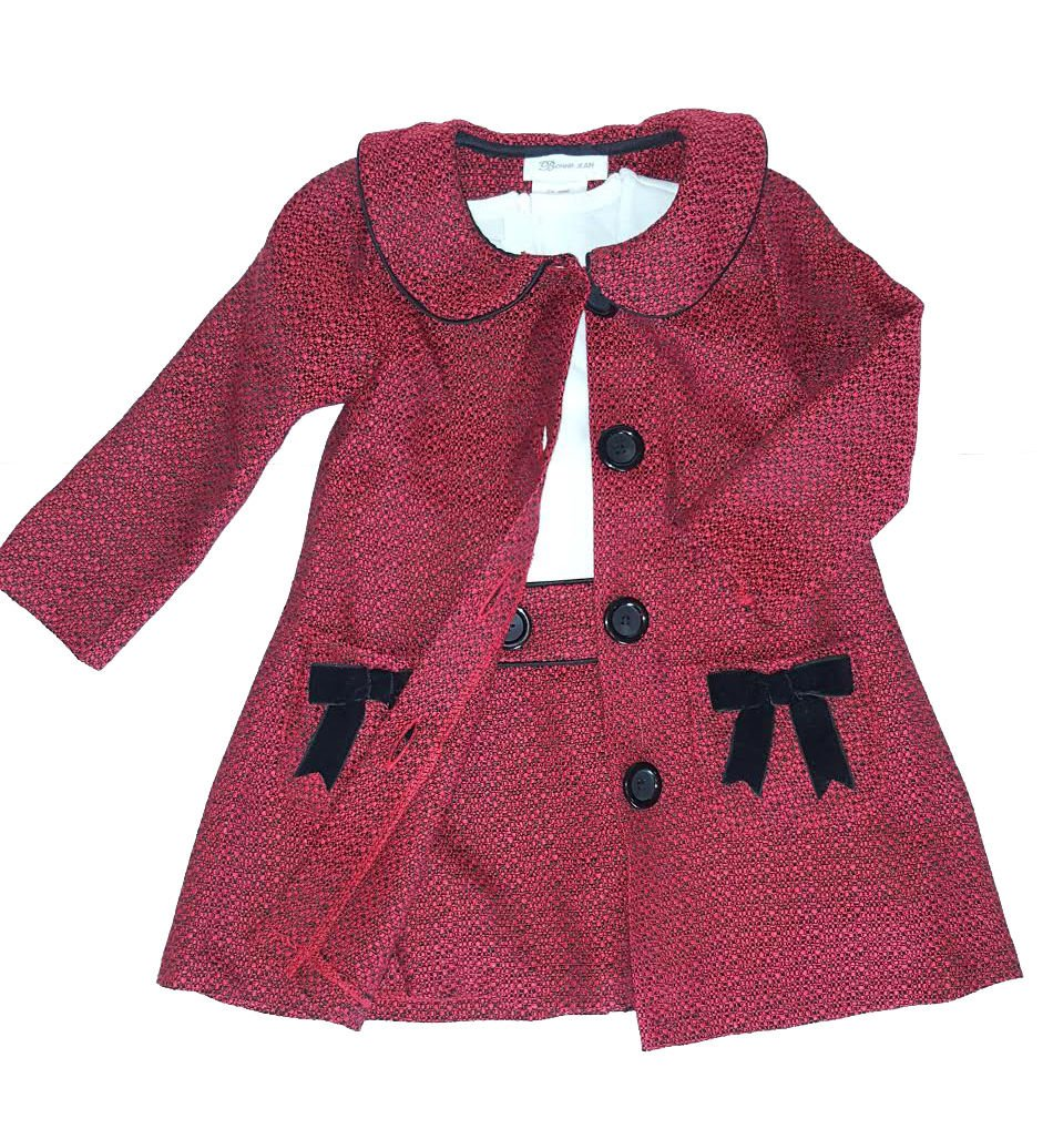 Bonnie Baby Baby Girls Newborn-24 Months Boucle' Coat and Dress Set, Black/Red, 18M