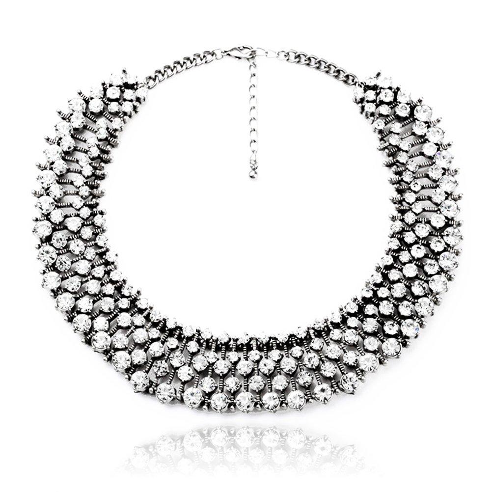 Fun Daisy Grand UK Princess Kate Middleton Hot Silver Tone Rhinestone Fashion Necklace - xl00941-S by FUNDAISY