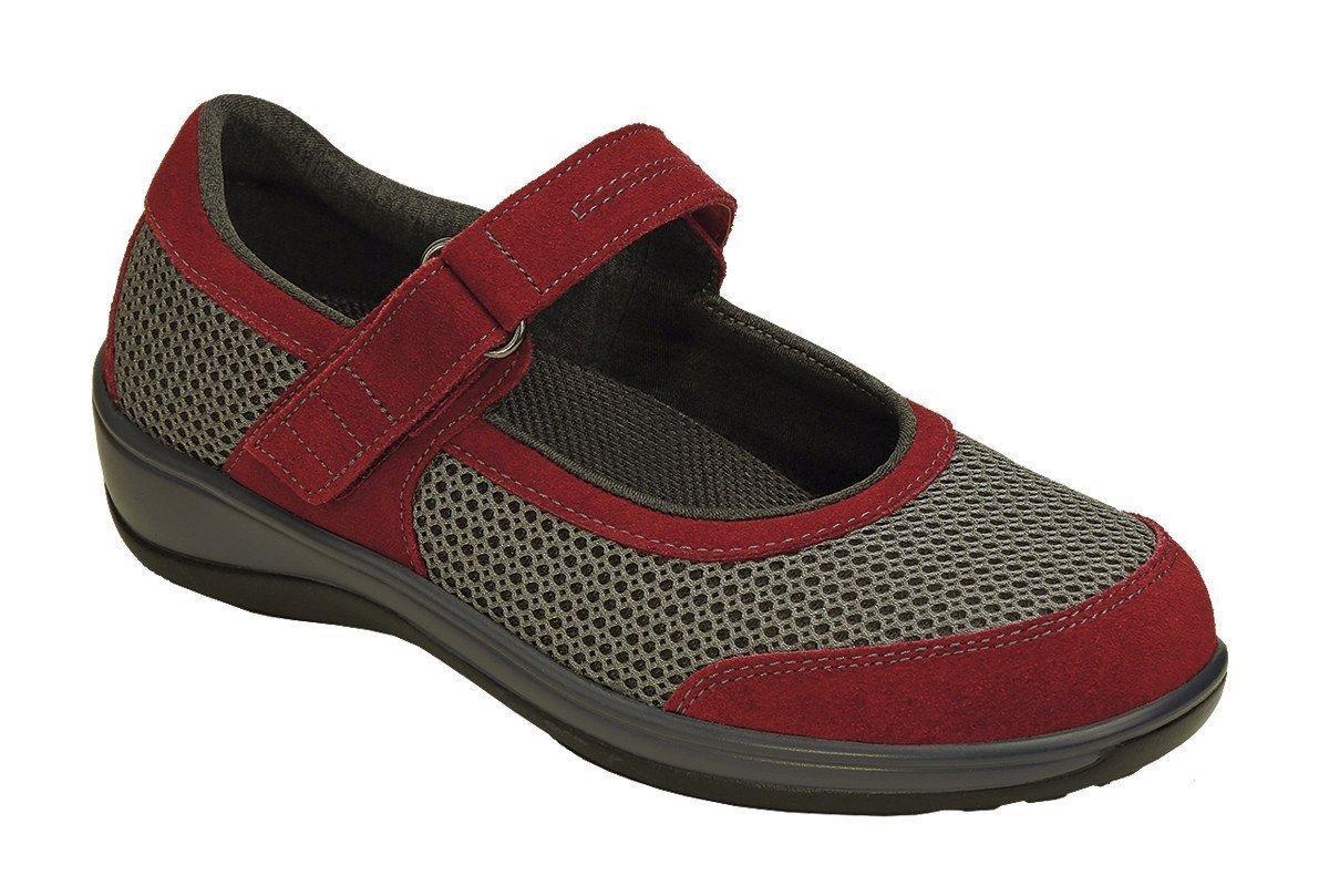Orthofeet 859 Women's Comfort Diabetic Therapeutic Extra Depth Shoe Red 8.5 Medium (C) Velcro