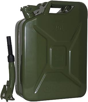 Metallkanister Benzinkanister 20l Ausgie/ßer flexibel olivgr/ün pulverbeschichtet TrutzHolm/® by Baumarktplus