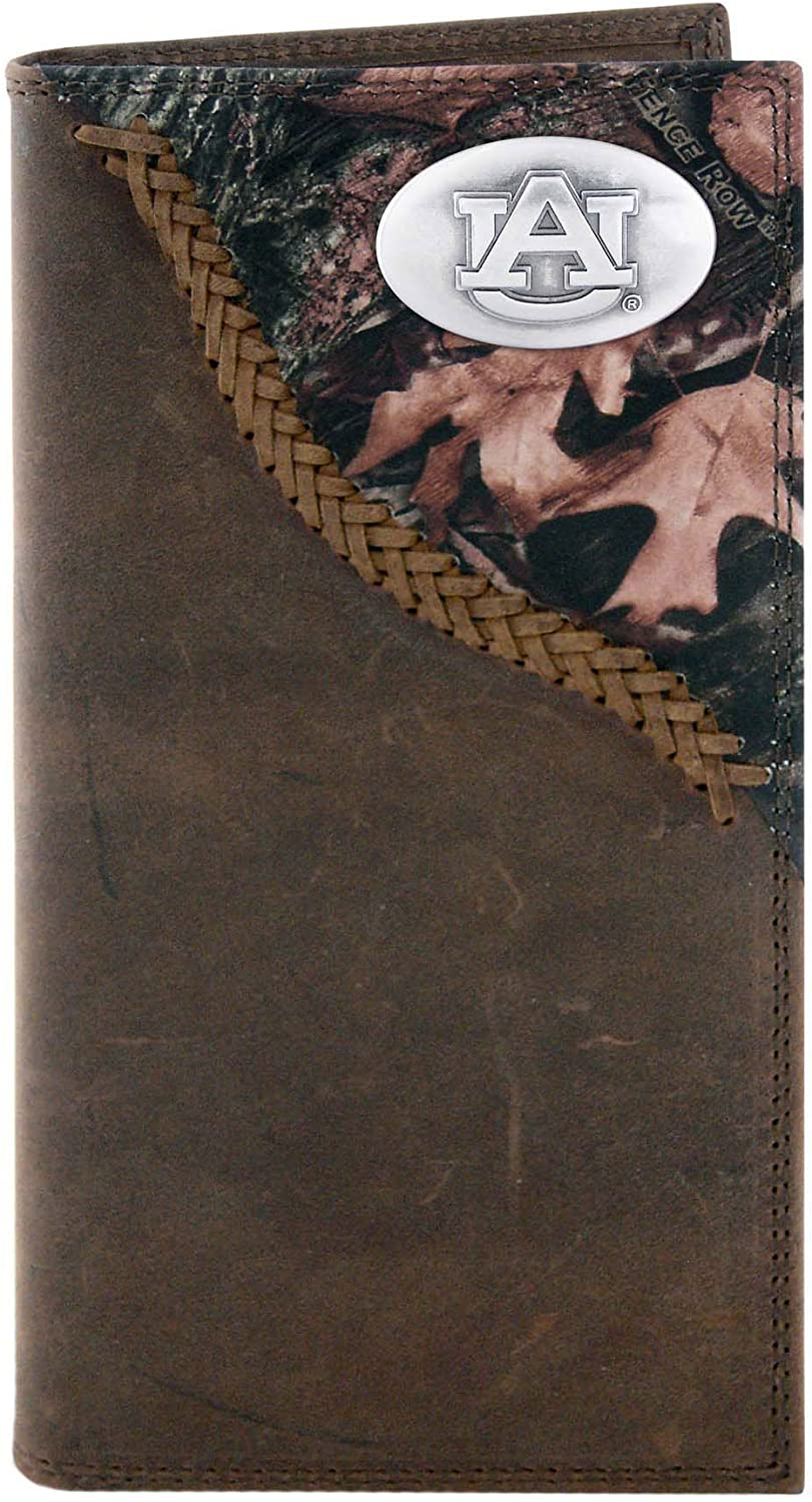 NCAA Auburn Tigers Light Brown Crazyhorse Leather Bifold Concho Wallet One Size