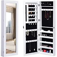 HOMCOM Mirrored Jewelry Cabinet Hanging Wall Door Mount Real Glass Mirror L