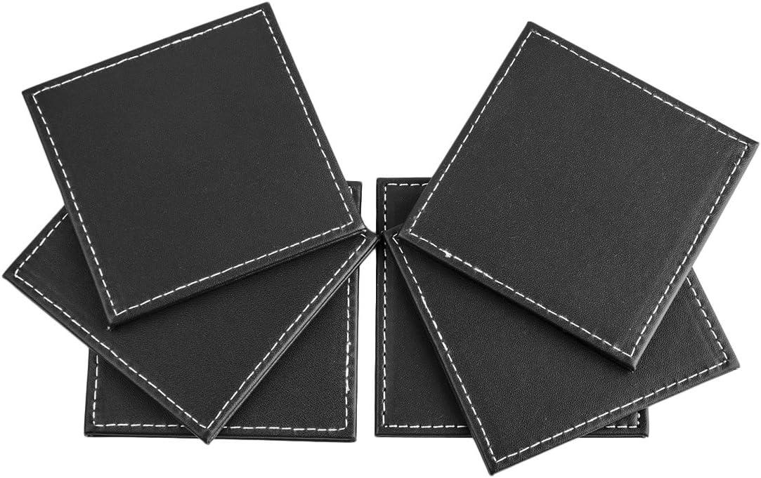 Sous-Verre Likeluk Lot de 6 Sous-verres en Cuir Isolant avec Bo/îte de Rangement D/écor pour Table Bureau Maison Carr/é Noir