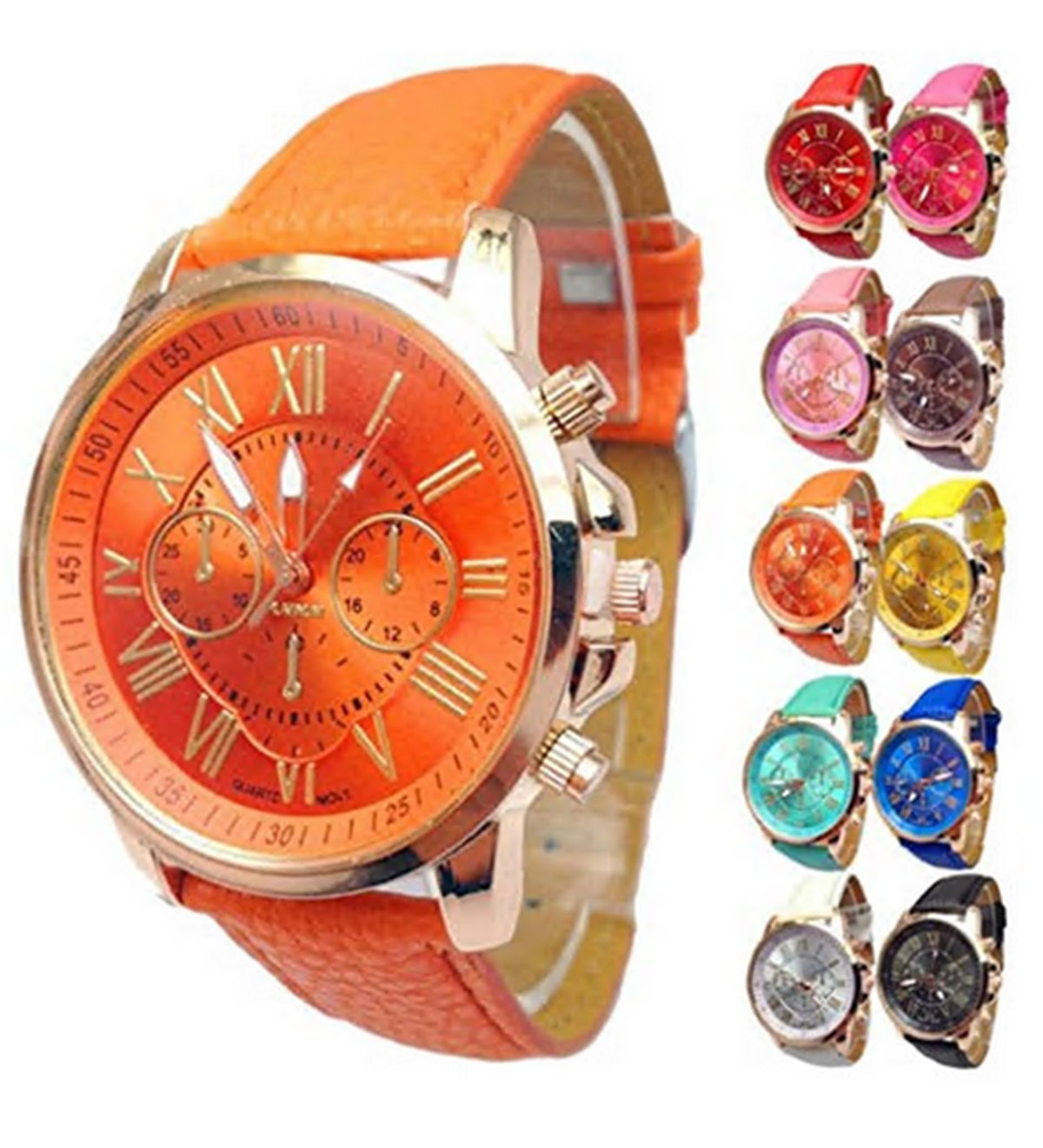 Women watch wholesale Faux Leather band strap Analog Quartz Wrist Watch set cheap on sale clearance 10PC (10PC Set)