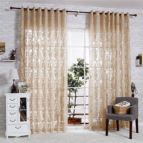 R.LANG Solid Grommet Top Beautiful Design Jacquard Sheer Curtain 1 Pair Coffee 66 W X 90 L
