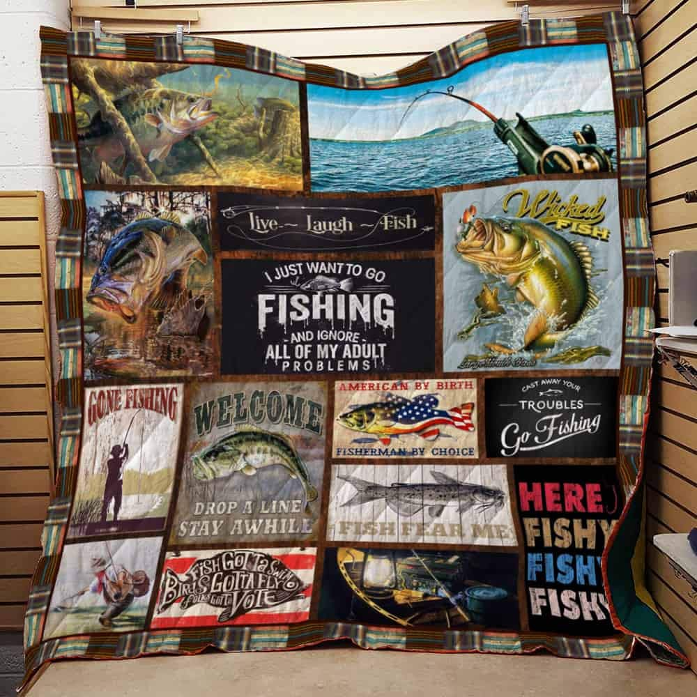 Best Decorative Quilts-Unique Quilted for Gifts King All-Season Quilts Comforters with Reversible Cotton King//Queen//Twin Size Fishing Quilt TH87