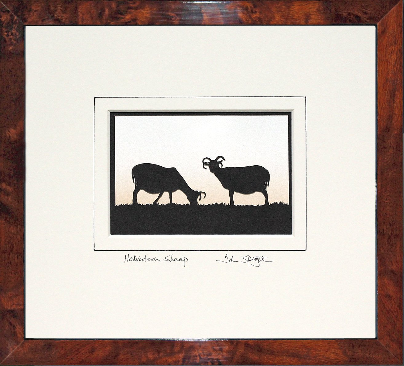 Hebridean Sheep Original Signed Hand Cut Silhouette Papercut Art by John Speight in Walnut Veneer Frame - Gift for Him and Her