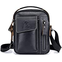 BULL CAPTAIN Mens Shoulder Bag Vintage Fashion Genuine Leather Cross Body Satchel Bag For Business Casual Travel Black