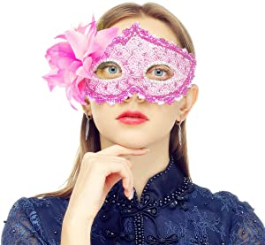 MYMENU Masquerade Mask for Women Shiny Glitter Party mask Venetian mask Lace Eye Masks for Carnival Prom Ball Fancy Dress Party Supplies (Pink)