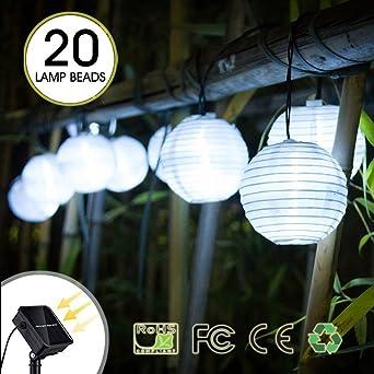 Guirnalda de Luces Solar LED, Chickwin Exterior IP65 Impermeable Cadena de Luces 5.3m / 20 LED Luz de Linternas Decorativa Luces para Navidad Fiestas Bodas Jardines Festivales Patio Terraza (Blanco): Amazon.es: Iluminación