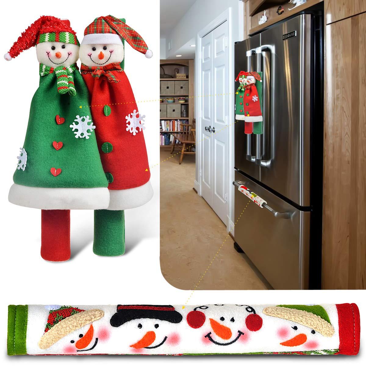 OUGAR8 Adorable Snowman Refrigerator Handle Covers Set | Cute &Practical Fridge Door Covers| Protective Kitchen Appliance Covers |Perfect Christmas Decorations Idea (4-Cloak)