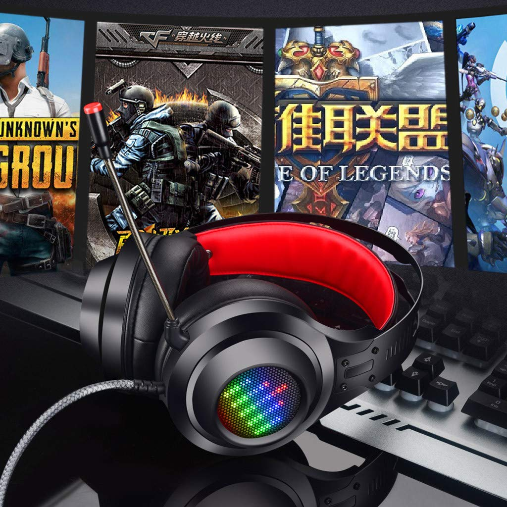 HL-G08 USB Stereo PC Gaming Headset Luminous Wired Headphone Microphone Laptop