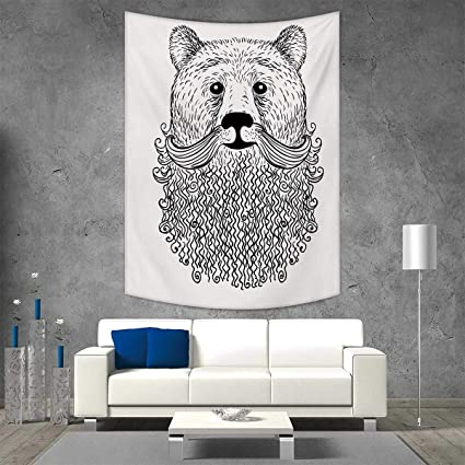 Smallbeefly Indie Home Decorations Living Room Bedroom Doodle Style Sketch  Bear Portrait Curly Beard Mustache Cute