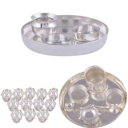 Buy silver plated 4 inchi pooja set silver plated set of 12 lotus silver plated 4 inchi pooja set silver plated set of 12 lotus flower diyas and mightylinksfo