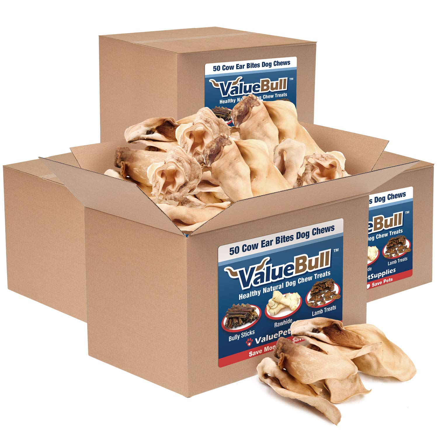 ValueBull Premium Cow Ears, Varied Shapes, 200 Count - Angus Beef Dog Chews, Grass-Fed, Steroid-Free