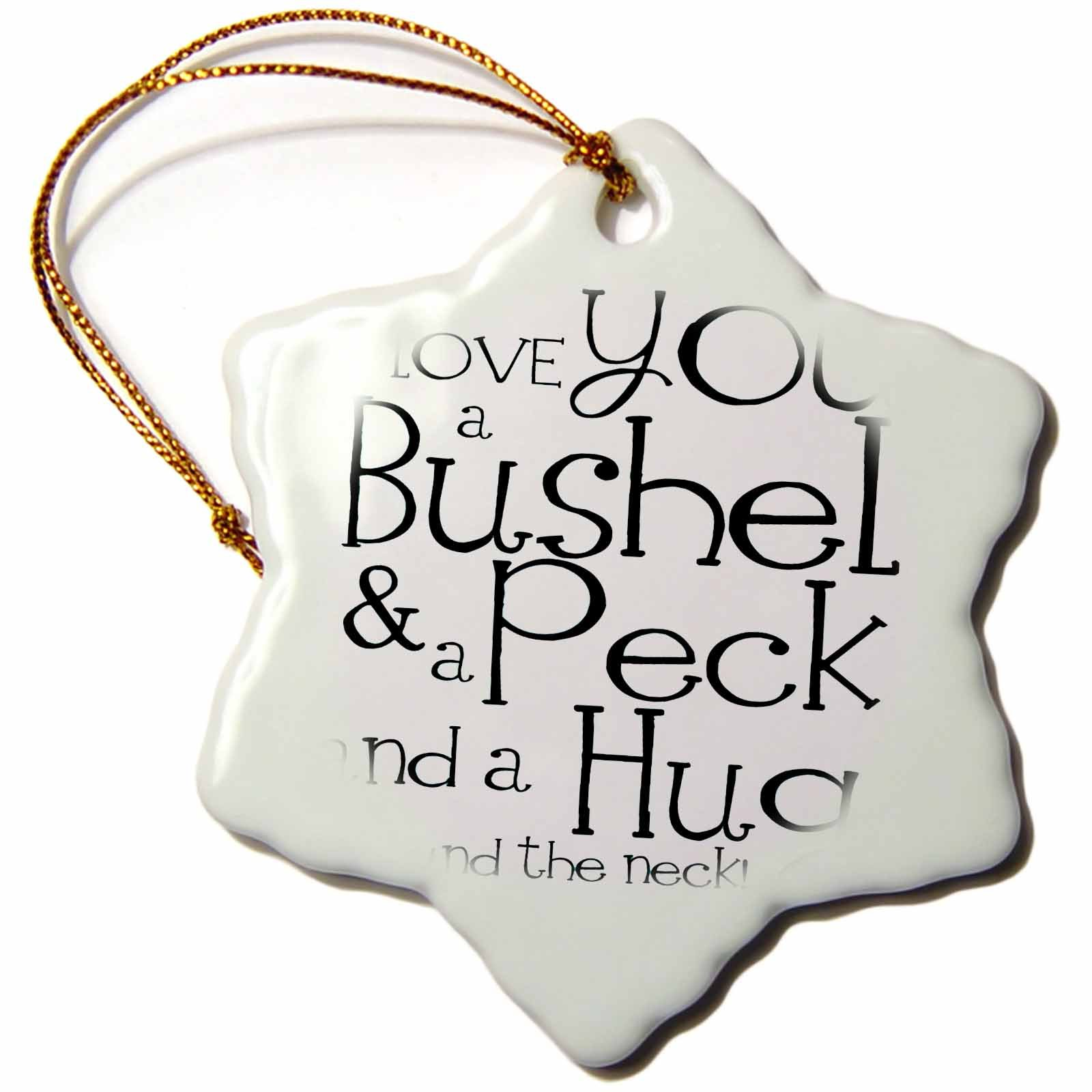 3dRose orn_193477_1 I Love You a Bushel and a Peck. White and Black-Snowflake Ornament, Porcelain, 3-Inch