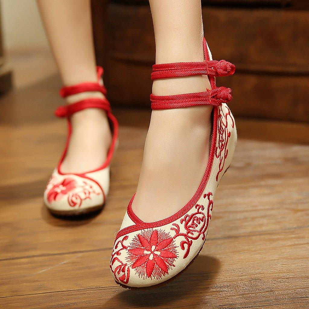 Scarpe ricamate femminili di stile cinese stile sottile scarpe sottili ( Colore : Rosso , dimensioni : US:5\UK:4\EUR:35 ) Nero