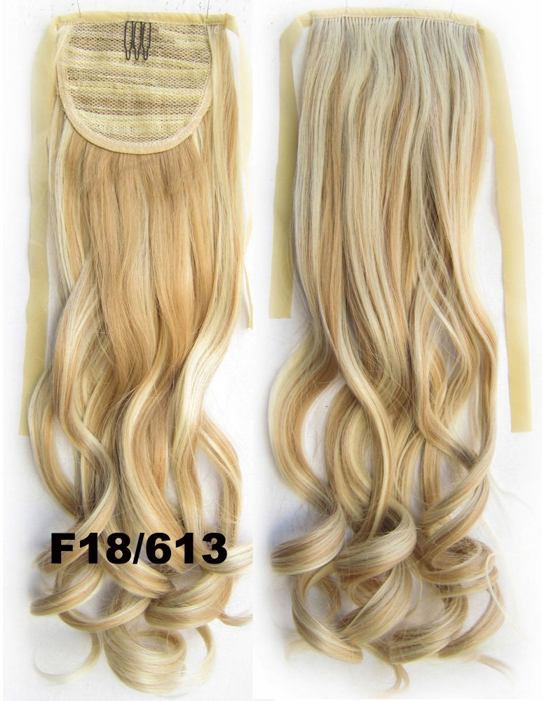 22inch 80g Clip In Pony Tail Hair Extension Wrap Around Ponytail Hair Extension Piece Light Brown color 18/613 abstract