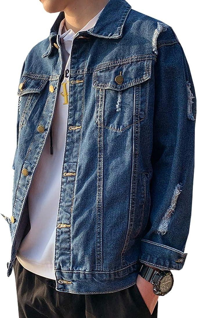 デニムジャケット メンズ M-4XL 大きいサイズ 春秋 防風 防寒 ジージャン おしゃれ カッコイイ ゆったり ストレッチ 快適 合わせやすい Gジャン 通勤 通学 お出かけ ダメージ加工 ネイビー/ブルー