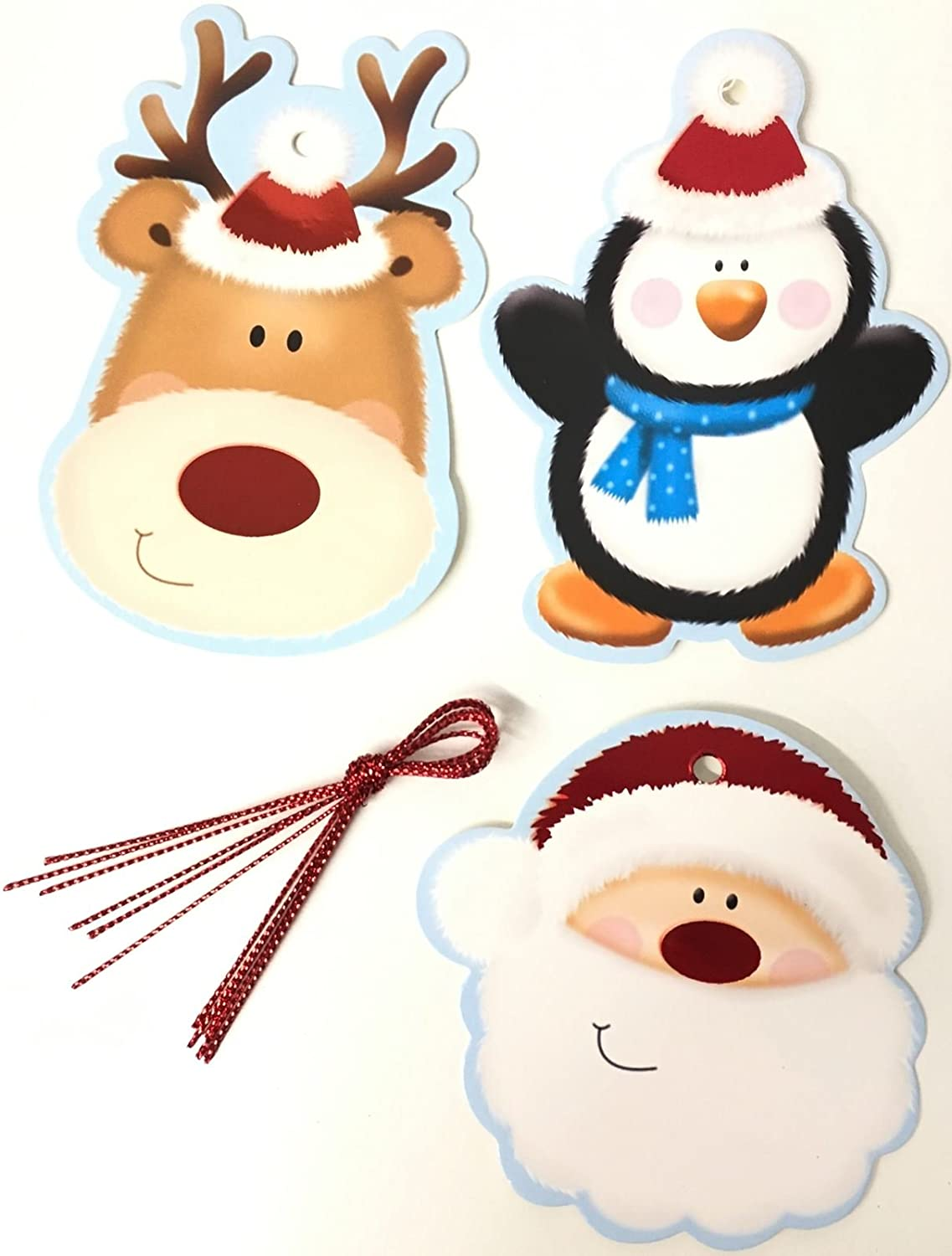 20 Foil Cute Christmas Gift Tags Santa Penguin Rudolph Reindeer Character Present Thread Hanging Decoration Festive Shape Gift Tags Xmas Party Wrap Kraft Labels Concept4u