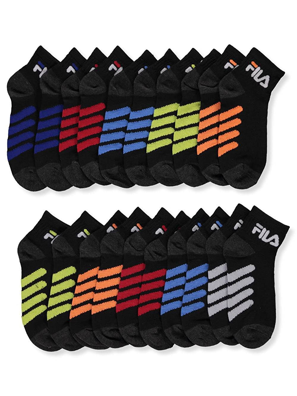 Fila Boys' 10-Pack Quarter Crew Socks 9-11/7-14 years