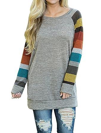 6de994570ad6c0 AUSELILY Women's Cotton Knitted Long Sleeve Lightweight Tunic Sweatshirt  Tops (US2-4, Mulit