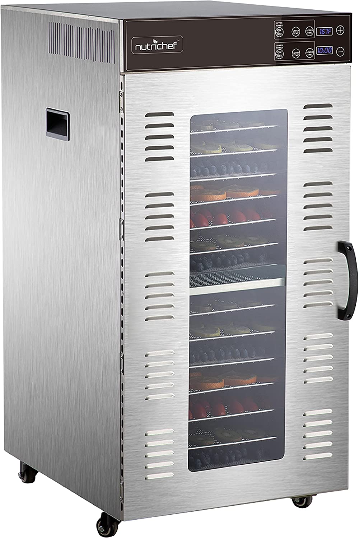 NutriChef Electric Food Dehydrator Machine - 2000-Watt Premium Multi-Tier Meat Beef Jerky Maker Fruit/Vegetable Dryer w/ 20 Shelf Stainless Steel Trays, Digital Timer, Temperature Control - NCFD20S