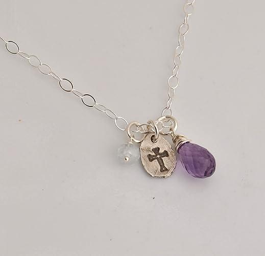 Amazon.com: Amethyst Aquamarine Necklace with Fine Silver ...